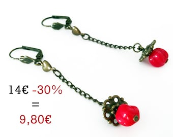 Earrings pendates small red pattern and small Pearl Heart