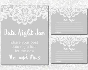 Date Night Jar Sign and Cards