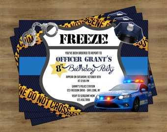 Police Party Invitation Printable; Police Birthday Party; Police Birthday Invitations for Boys; Police Invitation; Cops and Robbers