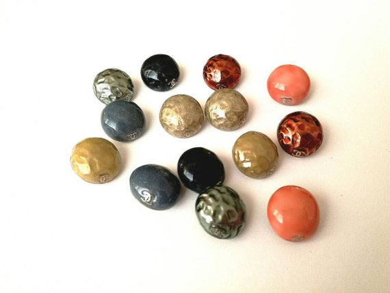 Lot of 14x D15mm Authentic Chanel enamel buttons with CC logo on side and in different colors