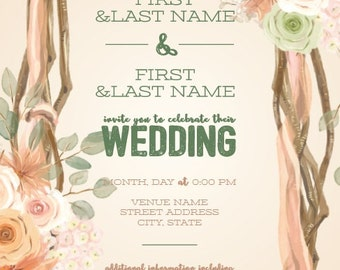 Digital Wedding Invitation Set Floral Arch- Digital file with one sided invitation and one sided reply