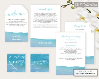 Beach Wedding Welcome Bag Note, Destination Wedding Welcome, Welcome letter, Watercolor, Template Kit, Instant Download, GD_WT110