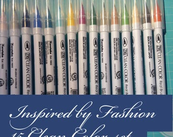 15 Clean Color Real Brush Pens Fashion set exclusive to Planner Craft