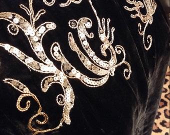 Clean, Vintage, 1930's, 1940's, Black, Velvet, Lined, Sequin, Embroidery, Embellished, Long Sleeve, Coat, Jacket