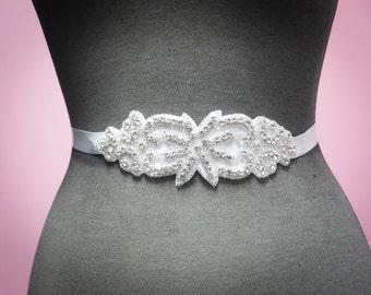 Jeweled Bridal Sash - Rhinestone Wedding Dress Belt - Crystal Rhinestone Applique Wedding Belt