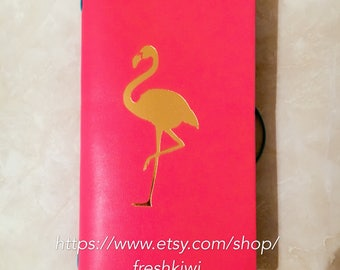 Recollections Tropical Journal. Flamingo. Pink. Leaves. Pocket journal
