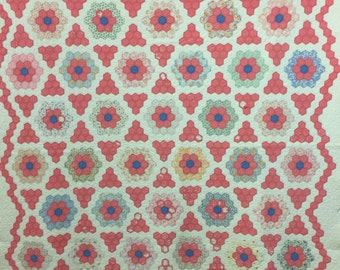 Vintage Quilt Grandmother's flower Garden flower Garden 1930's flour sack fabric. Hand sewn Antique bedding blue pink white