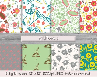 DIGITAL PAPER WILDFLOWERS pattern  instant download  milk white  pink  turquoise yellow