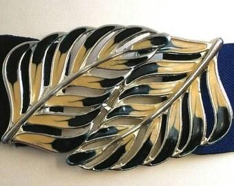 Belt blue elastic and loop pattern leaves vintage 80 s