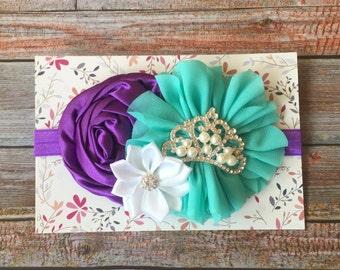 Purple and Aqua Headband.Baby Headband.Newborn Headband.Purple Headband.Aqua Headband.Toddler Headband.Birthday.1st Birthday.Purple and Aqua