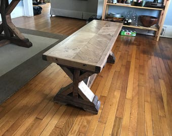 Bench, reclaimed wood, living room seating, handmade, rustic