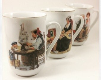 Norman Rockwell Cup Set of 3 1982 Rockwell Museum Seal of Authenticity