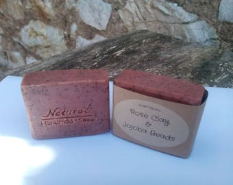 Rose Clay & Jojoba Beads Handmade Natural Soap