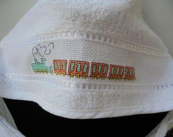 Baby bathtowel, hand embroidered, cross-stitch towel, Bath and Beauty, Bath Accessory, cleaning and drying, needlework bathtowel, handmade i