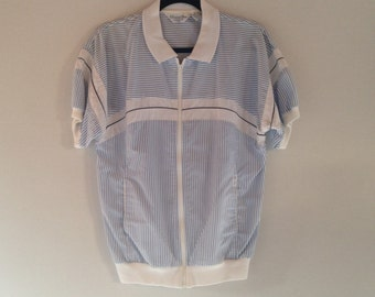 Vintage Men's Christian Dior Monsieur Shirt | Zip-up Designer Windbreaker Shirt