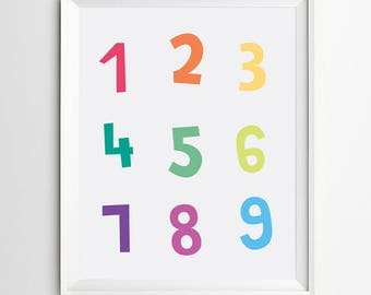 Downloadable print-number printable wall art-digital print-nursery decor -kids room decor -Colorful printable -art printable -nursery print
