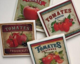 Set of 4 Tomato/Mediterranean Theme Resin Ceramic Tile Coasters