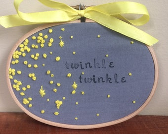 Twinkle Twinkle Little Star Hoop Art