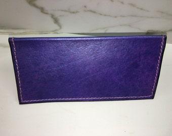 Purple Pearl Leather checkbook cover