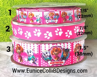 Pink paw patrol inspired ribbon