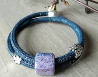 Cork Blue ceramic Pearl Vegan leather strap
