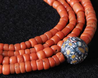 Reserved - Antique mediterranean red coral beads strand from Morocco. 37 inches.