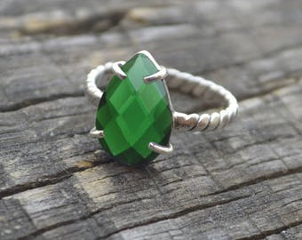 Dark Green Chrome Diopside Quartz Ring -   Diopside Quartz Solid Sterling Silver Ring -Classic Gift- Wedding Gift, Gold Ring, All Size
