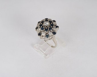 14K White Gold Diamond and Sapphire Cluster Ring , 11.5 grams, size 6.5