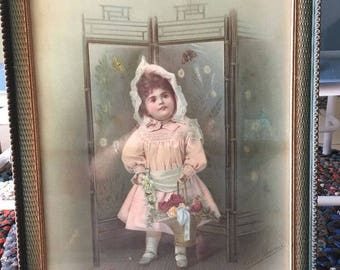 Antique  Victorian Lithographs  Picture Frames with glass Child Beautiful