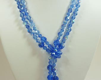 Vintage, Double Strand, Knotted Blue Aurora Borealis Necklace (SA033)