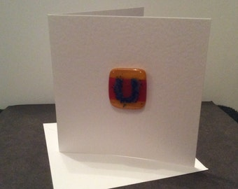 Personalised fused glass card