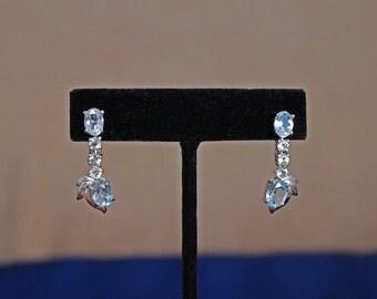 Vintage Sterling Silver Topaz Earrings, Sterling Silver Blue Topaz Earrings