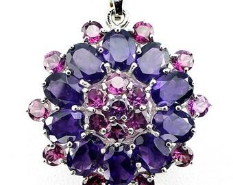 Bohemian Princess' Amethyst Pink Rhodolite Garnet Pendant - Large