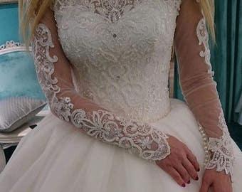 Elegent lace applique wedding dress fabric tulle beaded wedding fabric accessories organza lace fabric guipure lace weddingwear motifs