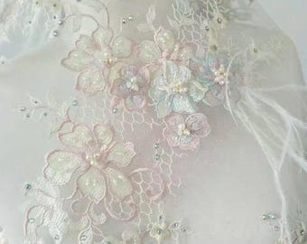Vintage colorful wedding lace fabric tulle lace guipure embroidery lace fabric 3D lace handmade beaded lace fabric 51 inch widths