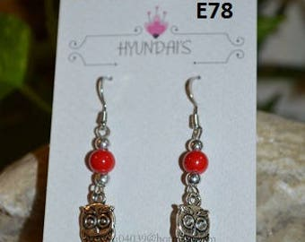 Jewelry by Hyundai's Owl dangle earring's with red beads