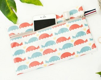Laminated Cotton Fabric Dolphin printed Fabric made in Korea by the Yard
