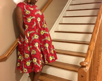 Maternity style African Wax Print Dress/ Medium size Loose Fitting dress/ Handmade/ 100% cotton