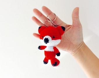 Amigurumi Crochet Fox, Fox key ring, fox Bag Charm, Fox keychain, Fox Key chain, Miniature Fox bag charm, Fox Keyring