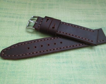 Watch strap, leather watch strap 20 mm handmade