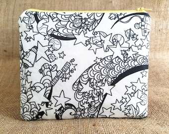 Outer space pencil pouch, adult coloring zipper pouch, makeup bag, Gift Mom Gift, boy gift, DIY gift, art party favors, coloring fabric