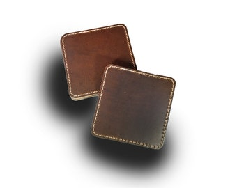 Stitched Leather Steer Coaster Set of 4 (Engraving Available)