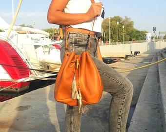 Leather Bucket Bag - Handbag, Shoulder Bag, Crossbody Bag, Leather Purse with Rose Gold Tassels, 100% Cow Leather, Made in Greece.
