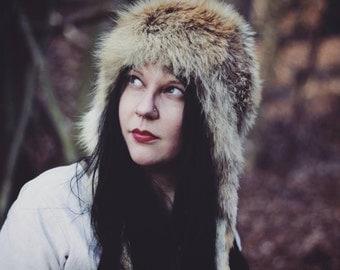 Fox Fur Hat - Larp - Viking - Norse - SALE