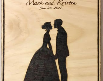 Valentine Gift, Anniversary Gift, Couples Gift, Wedding Silhouette, Custom woodburning of wedding couple, Custom made wedding gift