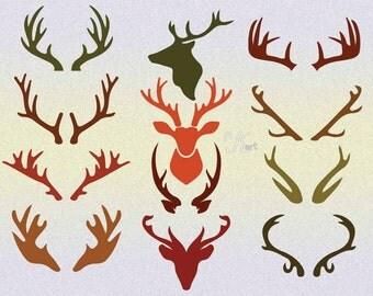 Deer antlers svg, Deer antler silhouette, Deer svg, Screen Printing, Craft supplies,  Deer cutting template, Deer dxf eps png, dxf png files