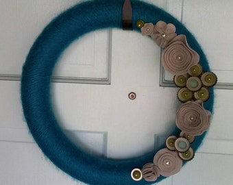 Blue Yarn Wreath with Bottlecap Flowers