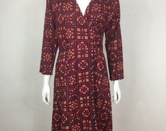 Vtg 70s cotton ethnic gauze india block print dress caftan boho bohemian hippie caftan