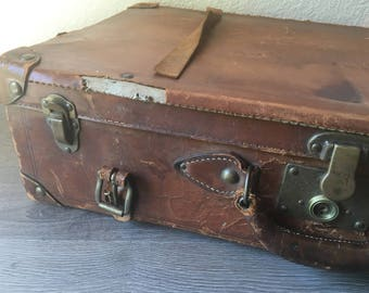 Leather suitcase | Etsy