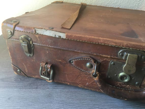 Vintage Leather Suitcase Leather Suitcase Old Leather